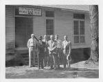Group of men standing in front of Engineering Office at Cross-Florida Barge Canal, 1935