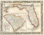 County map of Florida; County map of South Carolina and Map of Charleston harbor inset